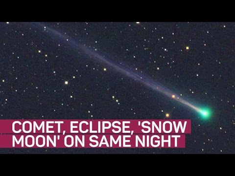 A comet, a snow moon and a penumbral lunar eclipse walk into a bar…