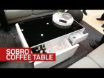 Fridge, charger, and speakers combine to form the Sobro coffee table