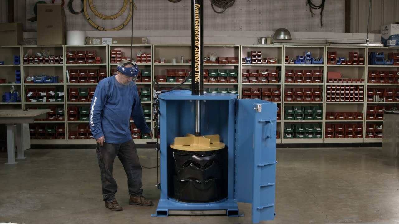 See How Hydraulic Drum Crushers Are Built From Recycled Steel Drums