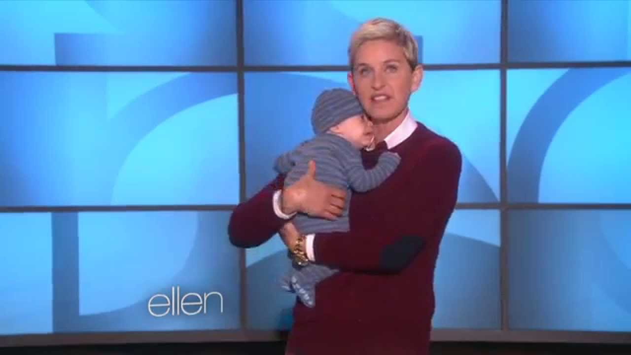 Ellen DeGeneres getting cozy with a newborn!