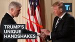 A body language expert analyzes Trump's unique handshakes