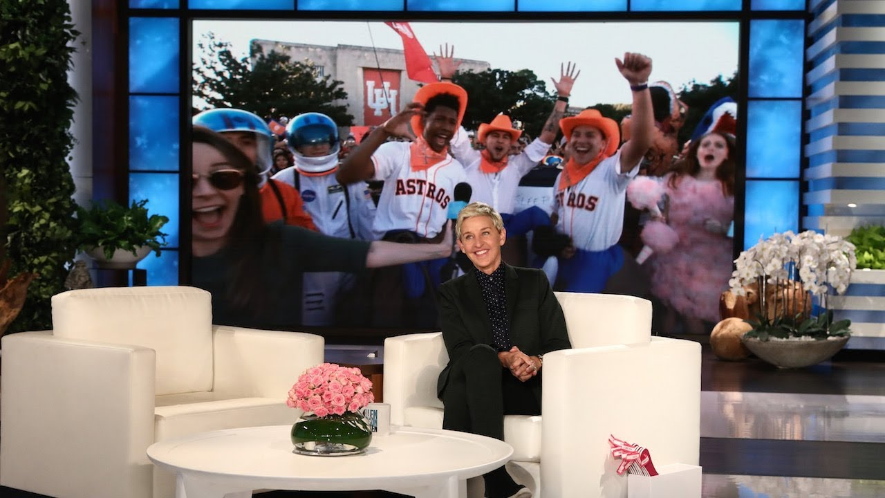 Ellen Rallies Astros Fans at University of Houston