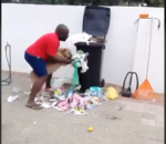 Funny or cruel? Man teaches dog a lesson for tipping over bins