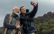PM Narendra Modi with host Bear Grylls - the host of the show Man vs Wild show.
