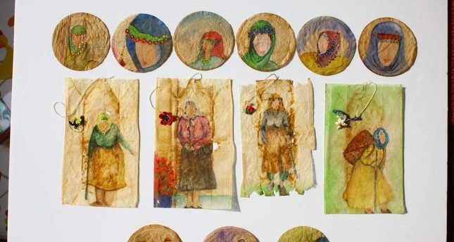 Turkish artist creates miniature paintings on used tea bags