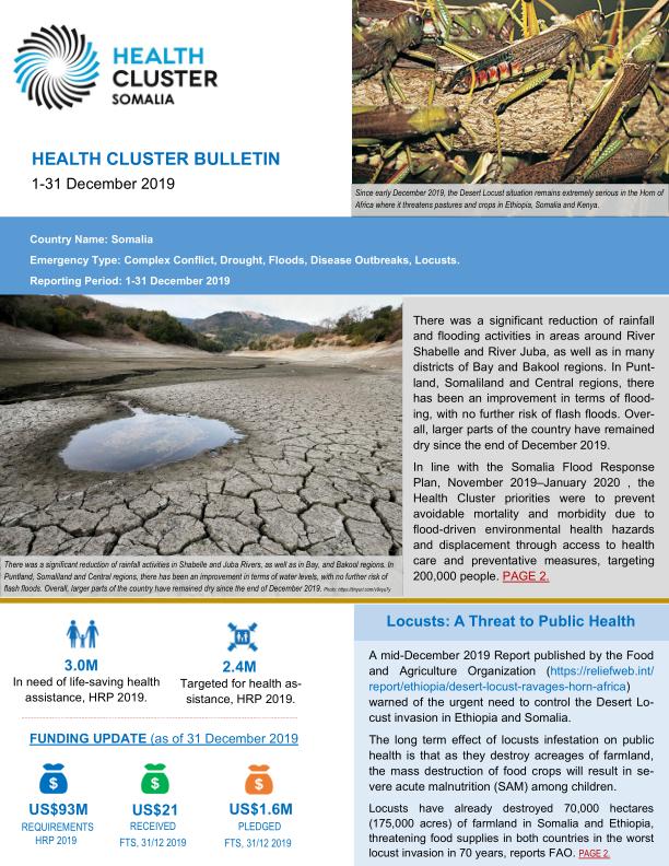Somalia: Health Cluster Bulletin, 1 - 31 December 2019 - Somalia