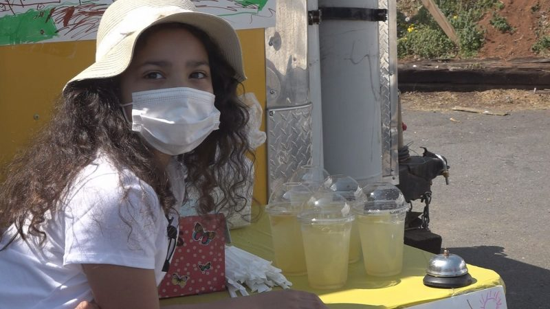 Little girl holds lemonade stand to buy stuffed animals for kids in need –