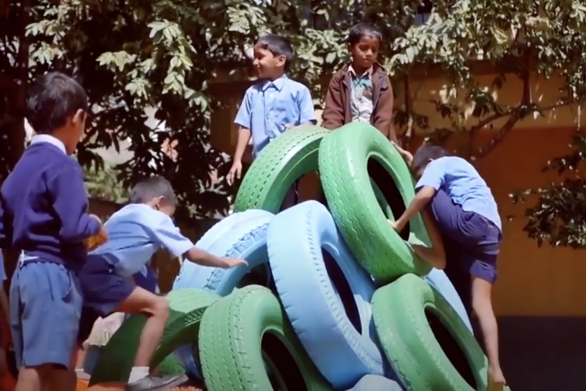 In India, old tires are being transformed into fun and safe playground equipment
